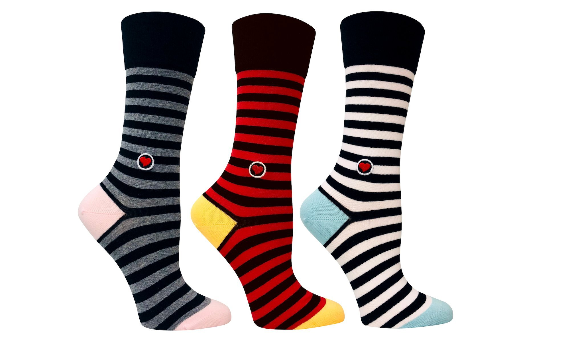 Women's Organic cotton stripes trouser socks - 3 Pack black, red and gray striped seamless toes