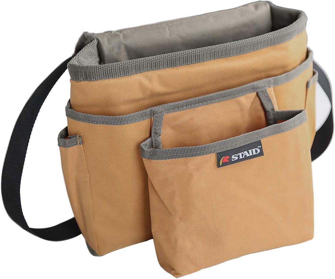 腰袋 3段タイプ ベルト付き 28x24cm ウェスト ツールバッグ 工具差し入れ 収納作業 DIY (ブラウン)