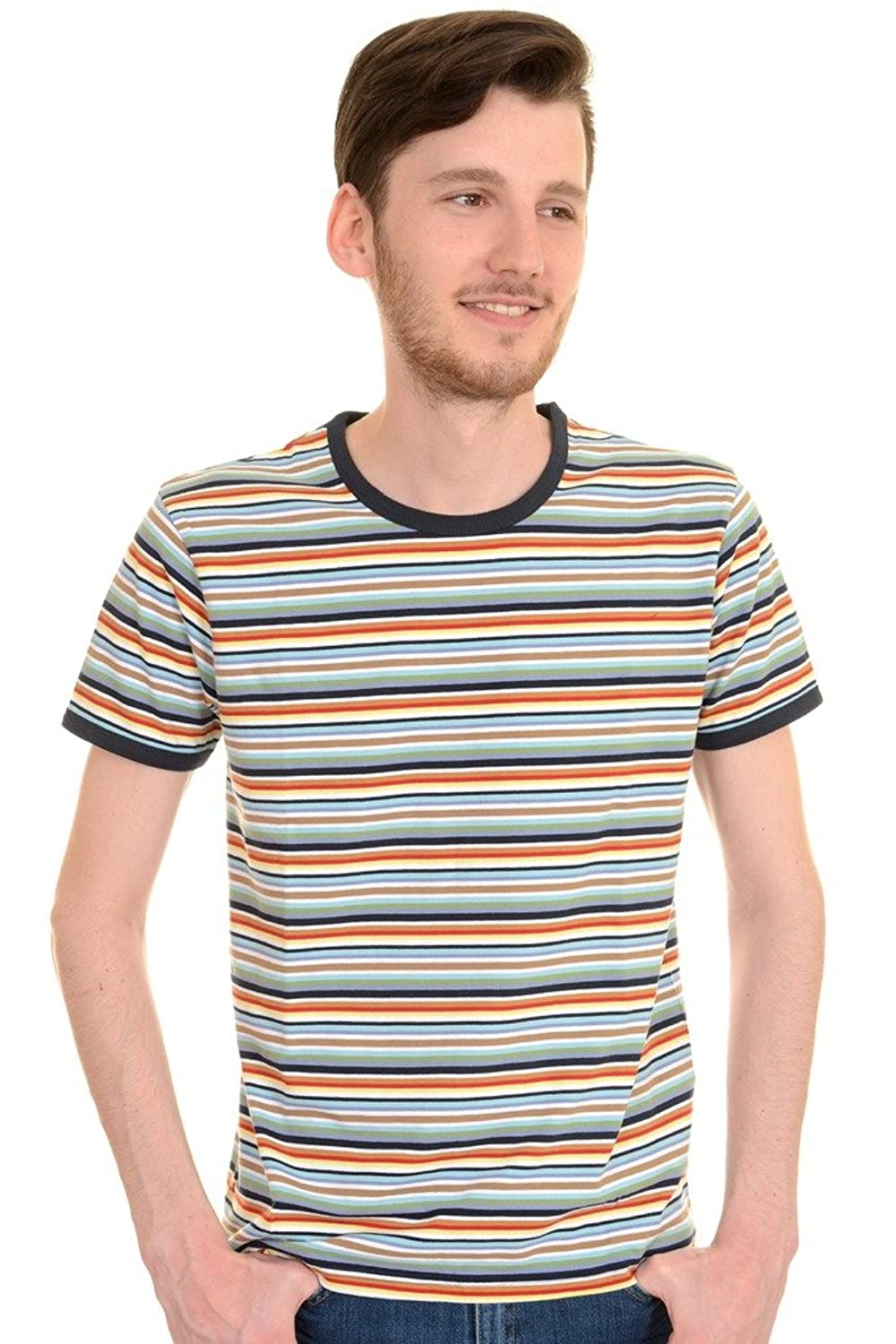 1960s Style Men's Clothing, 70s Men's Fashion Mens Run & Fly 60s 70s Retro Multi Striped Ringer T Shirt $22.95 AT vintagedancer.com