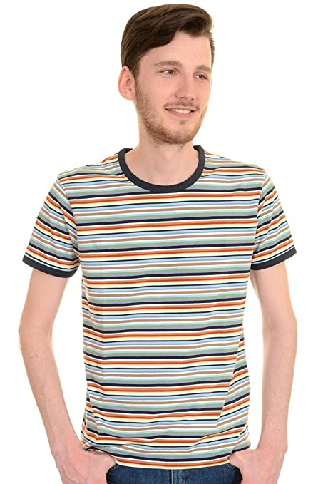 Vintage Shirts – Mens – Retro Shirts Run & Fly Mens 60s 70s Retro Multi Striped Ringer T Shirt £16.99 AT vintagedancer.com