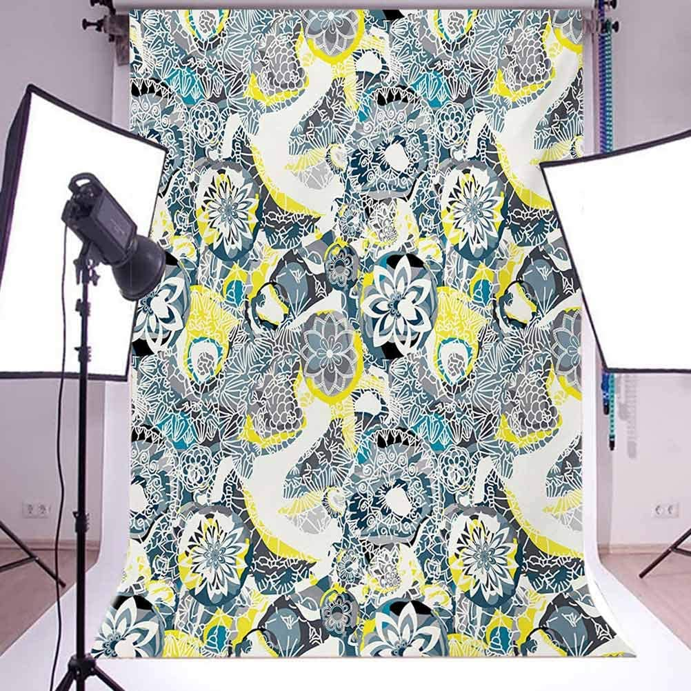 8x10 FT Backdrop Photographers,Floral Ornamental Vintage Blooming Flowers Foliage Leaves Garden Themed Background for Baby Shower Bridal Wedding Studio Photography Pictures Yellow Blue