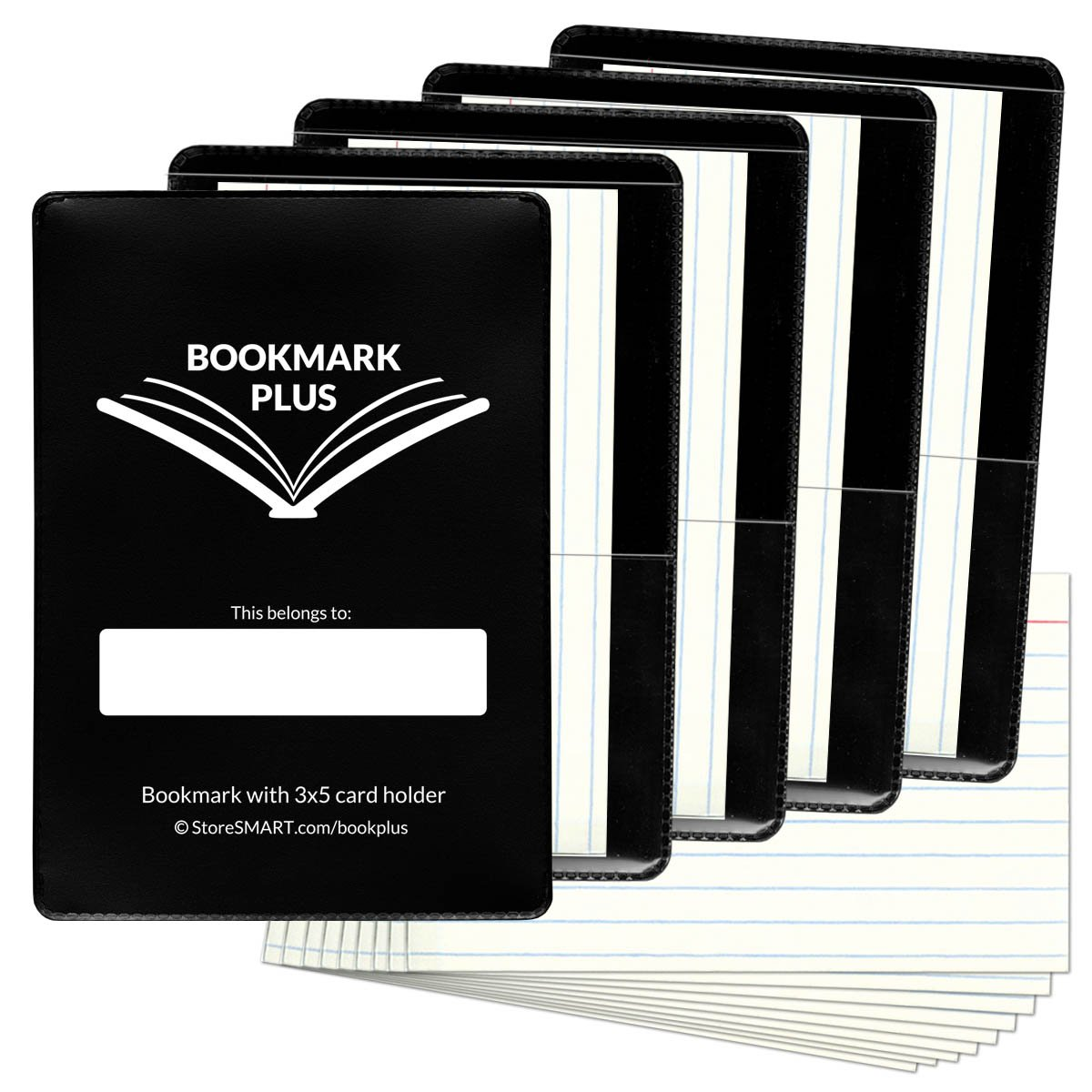 STORE SMART - Bookmark PLUS with 3x5 Card Holder - Black 5-Pack and 50 cards - BOOKPLUS-BK5