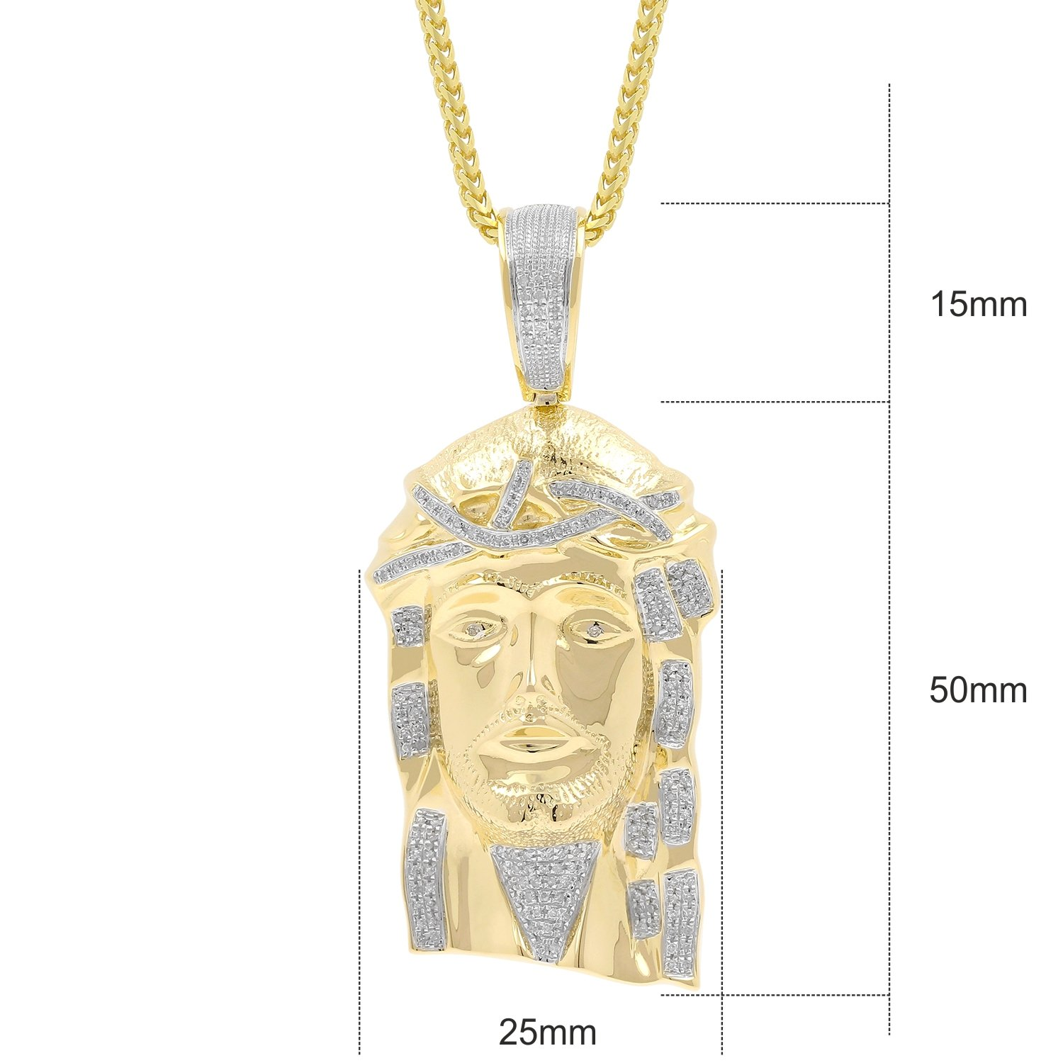 0.52ct Diamond Jesus Face Religious Mens Hip Hop Pendant in Yellow Gold Over 925 Silver (I-J, I1-I2) by Isha Luxe-Hip Hop Bling (Image #2)