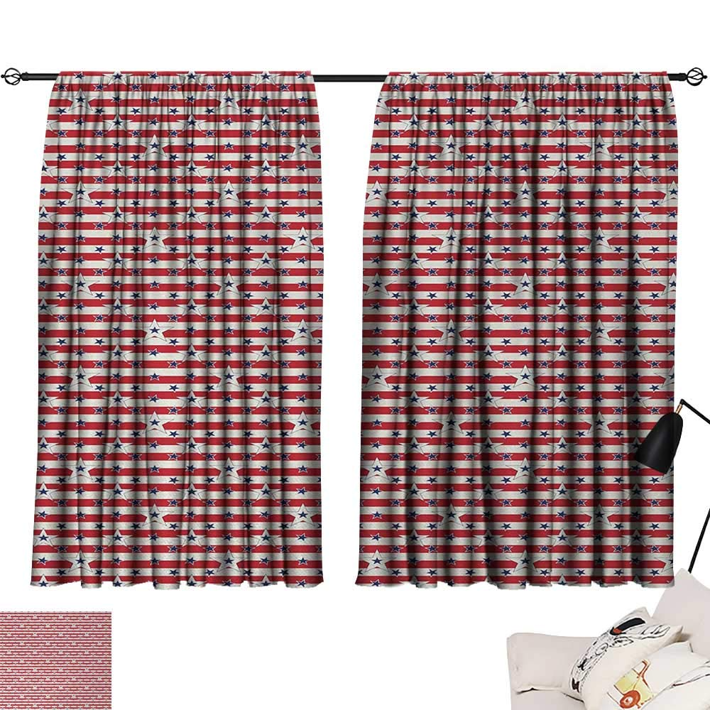 Jinguizi 4th of July Curtain for Kids Room Stripes with Stars Freedom and Liberty of The USA National Holiday Party Darkening Curtains Royal Blue Biege Red W55 x L39
