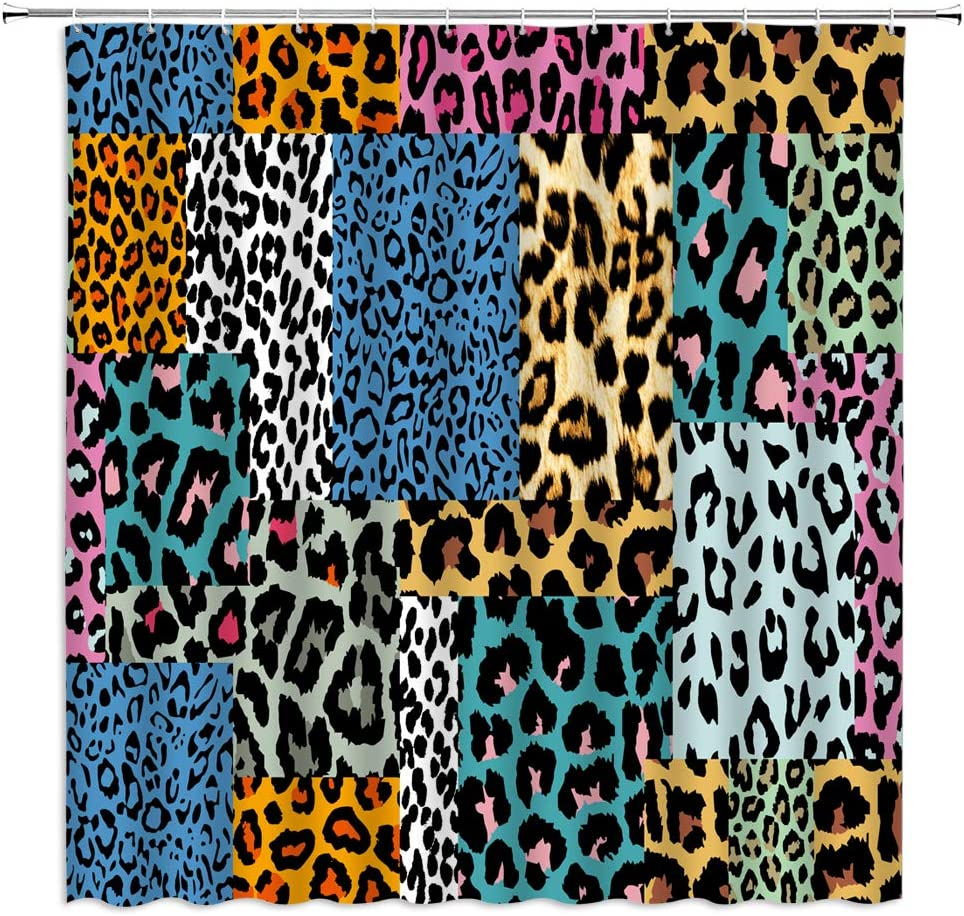 Leopard Print Shower Curtain Abstract Leopard Skin Pattern Collage Colorful Geometric African Wild Safari Animal Watercolor Art Creative Brown Blue Fabric Bathroom Decor Set with Hooks(70