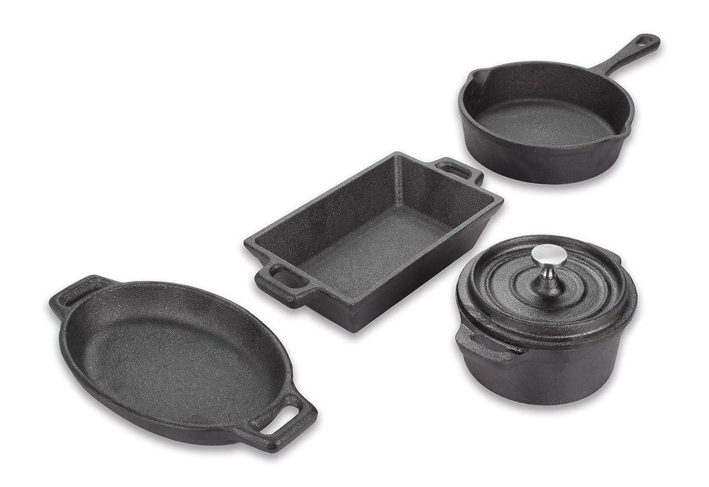 ヴァリアントミニチュア4ピース鋳鉄製調理器具セット、ブラック   B07G7B1223