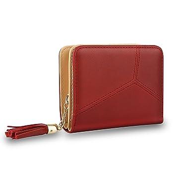 MPTECK @ Cartera de mujer con monedero con borla de PU Cuero Rojo Ladies billetera Cartera