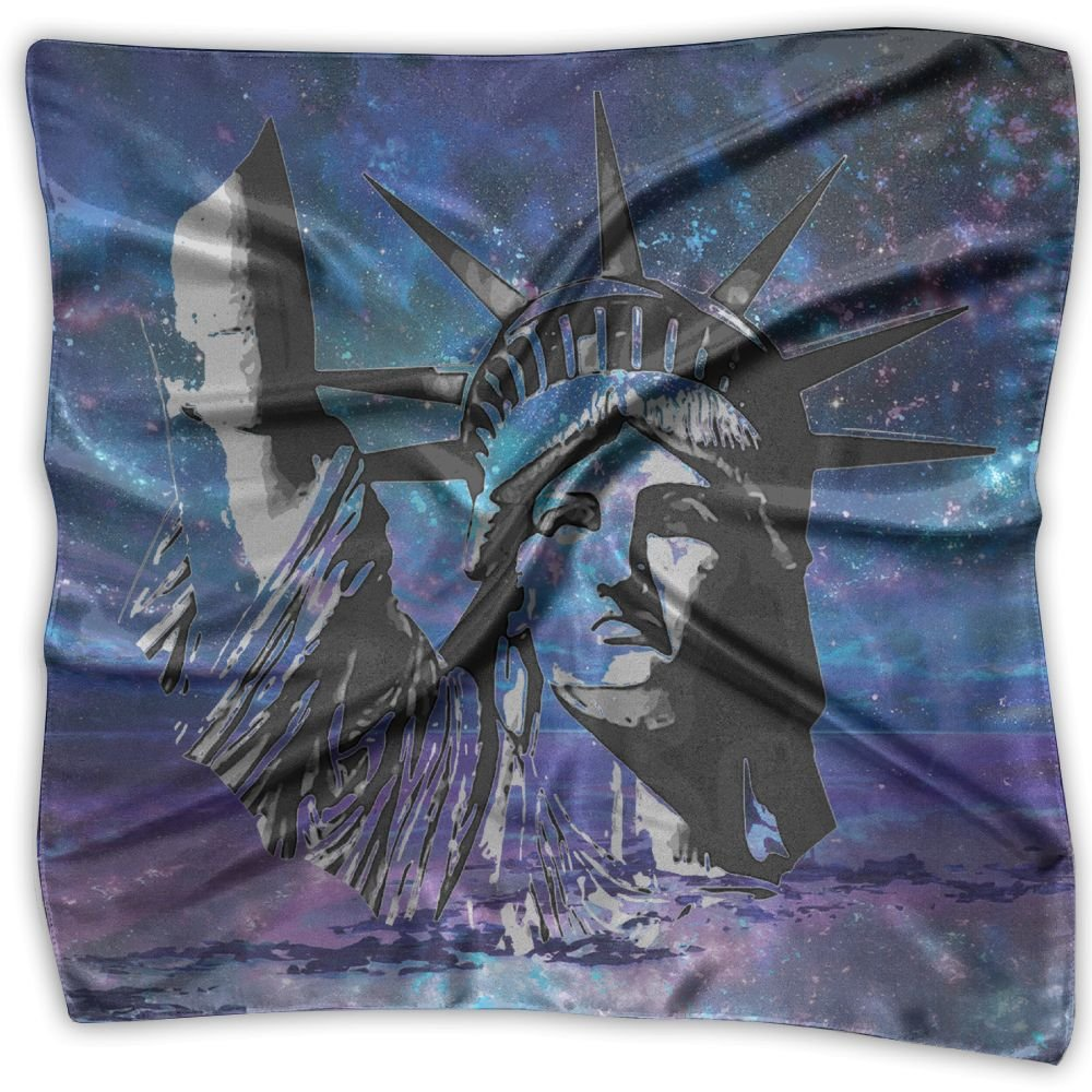 Statue Of Liberty Football Womens Square Polyester Satin Neck Head Scarf Scarves Set