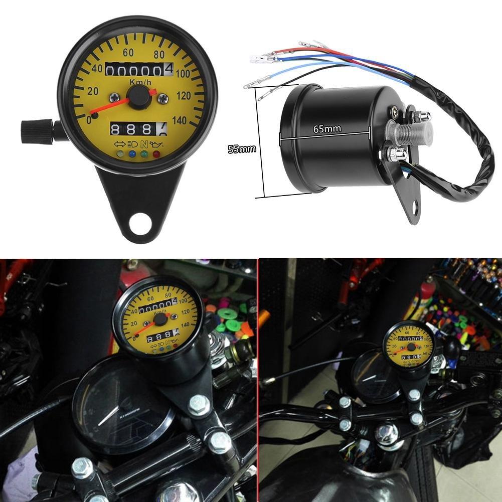 Yellow Tuankayuk Universal LED Backlight Motorcycle Odometer KM//H Speedometer Gauge