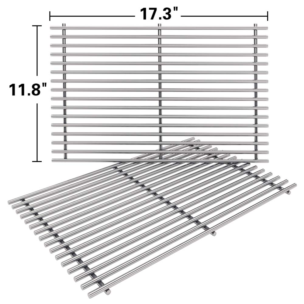SHINESTAR 7639 Stainless Steel Grates Replacement for Weber Spirit 300 Grill Grates, Solid Cooking Grates Replace for Spirit 310 E310, Genesis Silver B C, Gold B C (Set of 2, 17.3 x 11.8) (SS-KW639B) by SHINESTAR