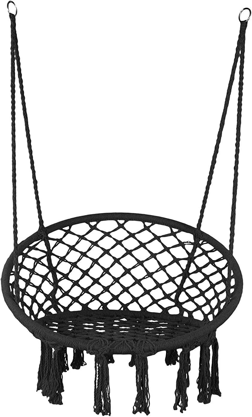 E EVERKING Hammock Chair Macrame Swing, Hanging Cotton Rope Macrame Hammock Swing Chair for Indoor, Outdoor Home, Patio, Porch, Deck, Yard, Garden, Max Weight: 260 Pounds