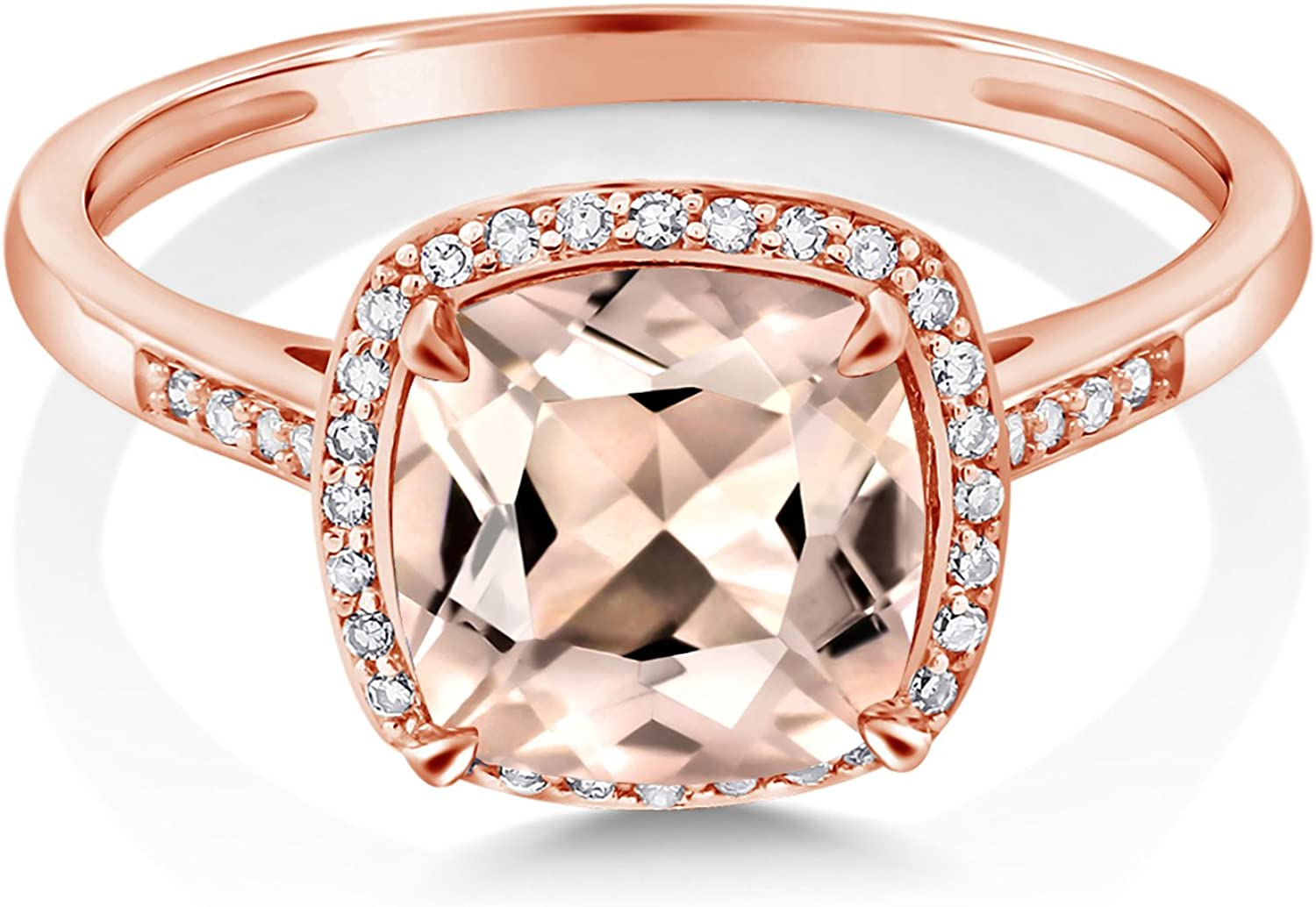 925 Sterling Silver and 10K Rose Gold Ring 1.88 Ct Cushion Peach Morganite