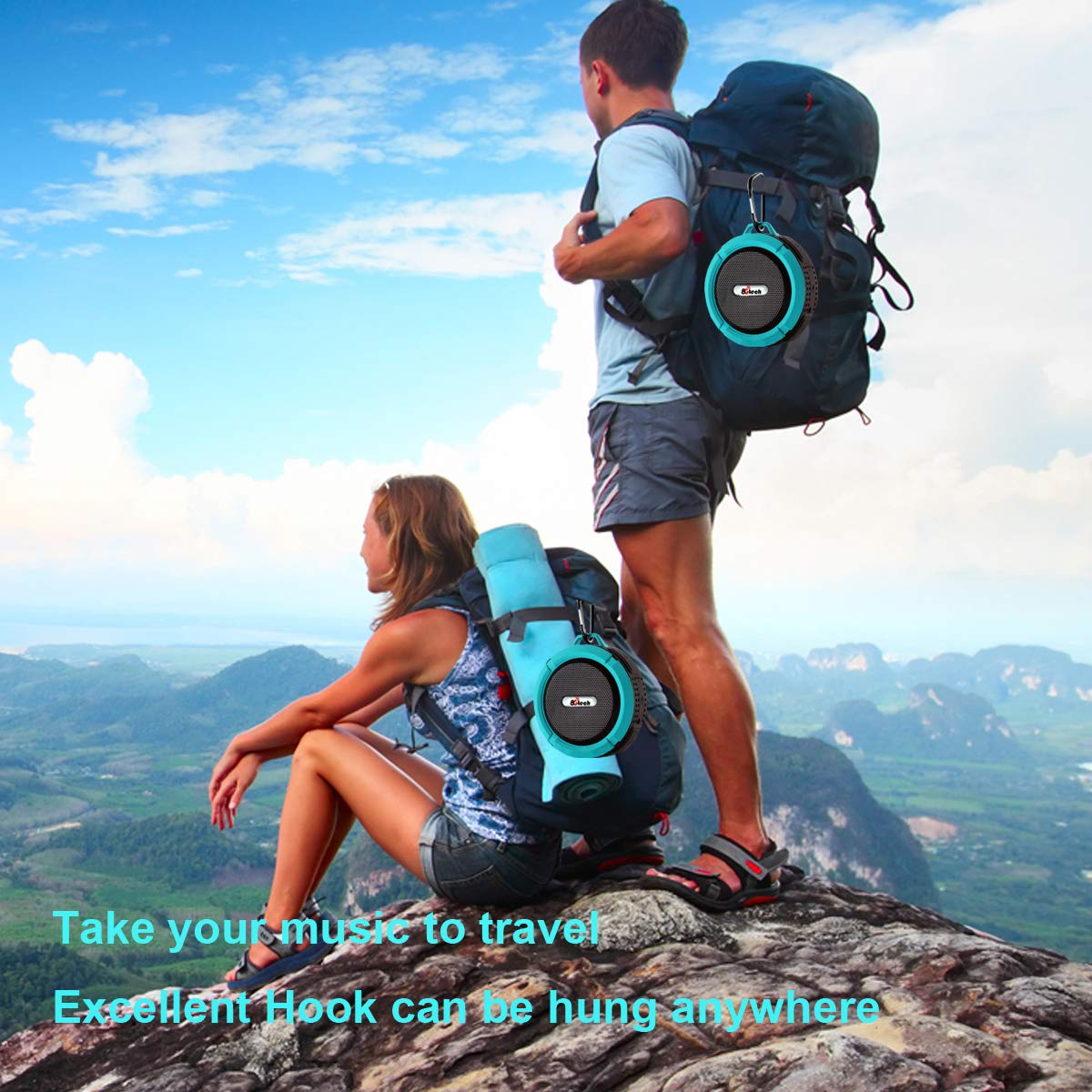 Shower Speaker Built-in Mic Hiking Biking 5W Big Sound Pool 8Gtech IPX5 Waterproof Bluetooth Speaker with 6H Playtime Suit for Bathroom Portable Speaker with Suction Cup /& Sturdy Hook