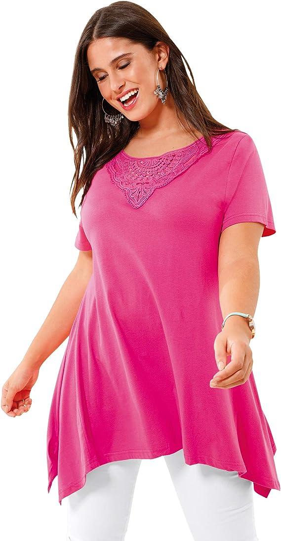 BELLÍSIMA Camiseta guipur en el Escote Mujer - 025651: Amazon ...