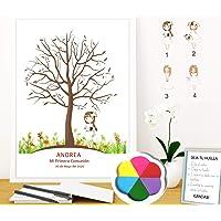 Didart Handmade Cuadro de árbol de huellas personalizado para Comunión. 4 modelos de niña a elegir. Tintas e…