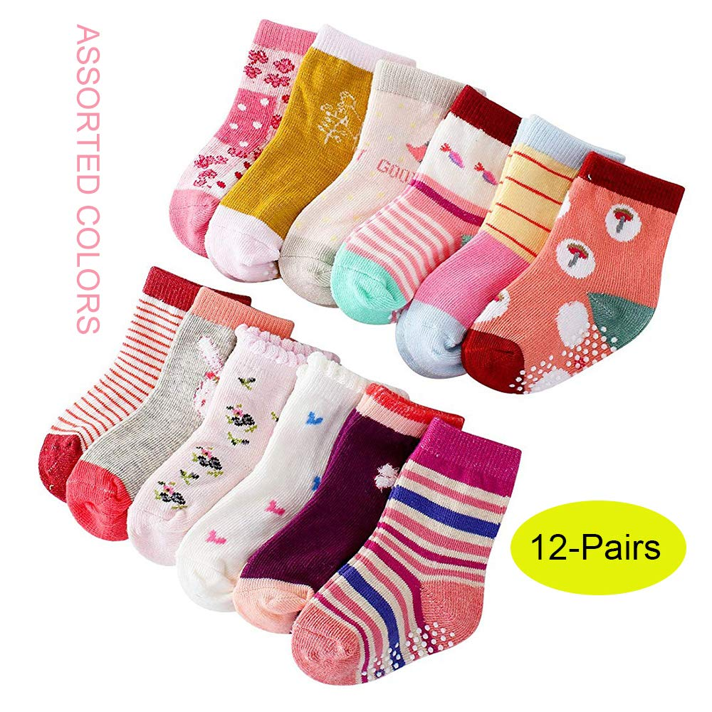 Toddlers Crew Baby Socks with Grip MAYBOX 12 Pairs Assorted Non-Skid Ankle Cotton Socks Baby Girl Socks