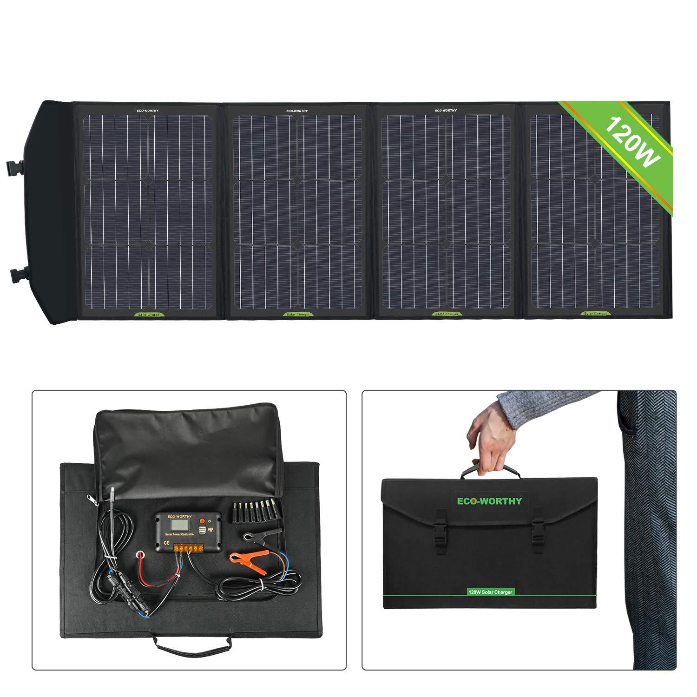 ECO-WORTHY 120W Chargeur Panneau Pliable avec Contrôleur de Charge Chargeur de Sortie DC dans une Valise pour camping-car RV Randonnée