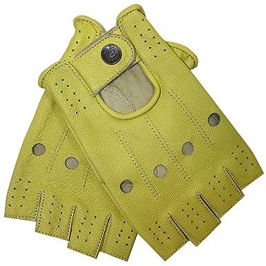 17532e9bb4b815 German Wear Driving Halbfinger Fingerlose Autofahrer-Handschuhe  Lederhandschuhe, 7=S, Gelb