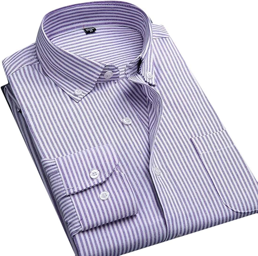 Etecredpow Mens Long Sleeve Casual Button Down Striped Oxford Dress Shirts