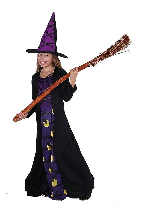 Magicoo La Strega Gufo - Costume Strega Bambina Viola Nero con Cappello da  Strega- ed8c961f3867