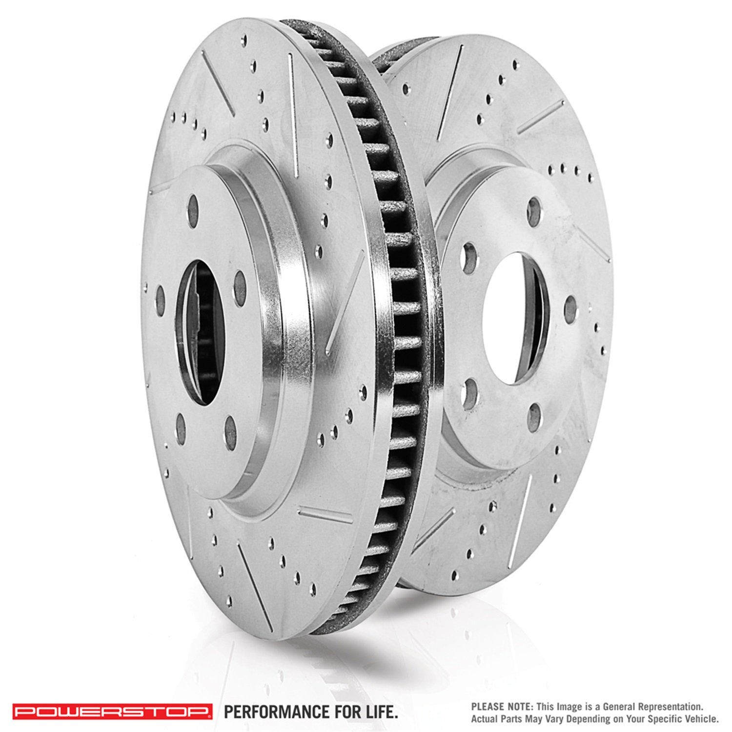 Power Stop EBR1442XPR Rear Evolution Drilled and Slotted Rotor Pair, 1 Pack