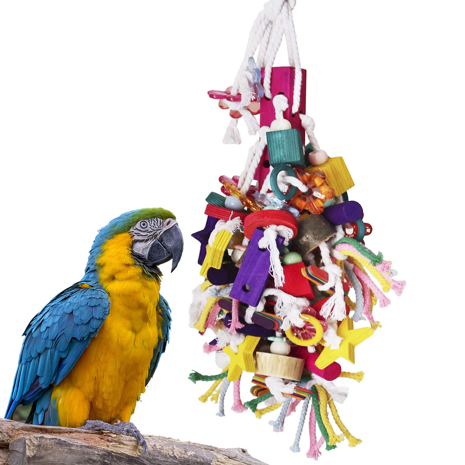BWOGUE Large Parrot Chew Toy Bird Chewing Toy Multicolored Wooden Blocks Tearing Toys for African Grey Macaws Cockatoos Eclectus Amazon Parrot Birds by BWOGUE