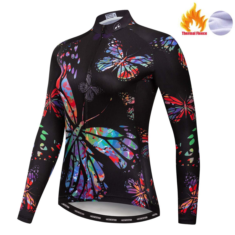 Damen Radfahren Langarm Jersey Bike Trikot Shirts Rennrad Kleidung Fahrrad Team Thermal Fleece Warme Tops