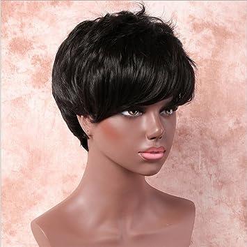 JL Peluca De Pelo Corto De Mujer Negro Micro-Volumen Moda Natural De Alta Temperatura