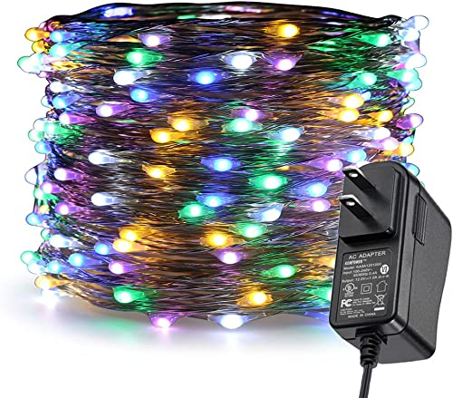 ER CHEN LED String Lights Plug in, 66Ft 20M 200 LED Silver Coated Copper Wire Starry Lights Outdoor Indoor Decorative Fairy Lights for Bedroom, Patio, Garden, Party, Christmas Tree Multicolor