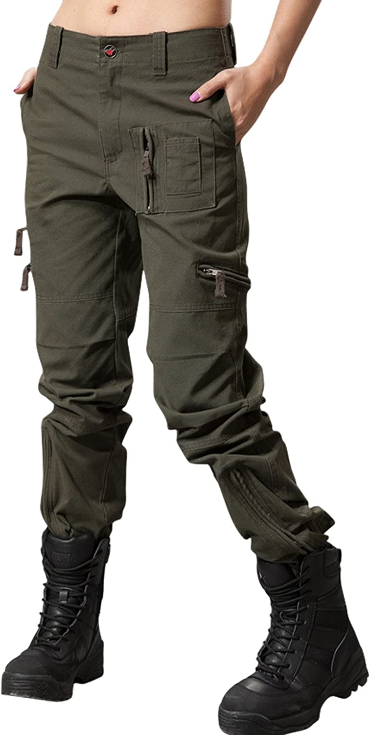 chouyatou Womens Military Straight Fit Stylish Combat Cargo Slacks Pants