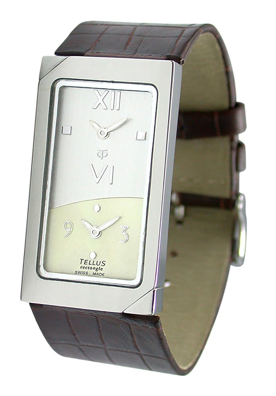 Tellus - Rectangle - Damen Armbanduhr Silber aus Edelstahl - Armband Braun aus Kalbsleder - in Schweiz hergestellt -