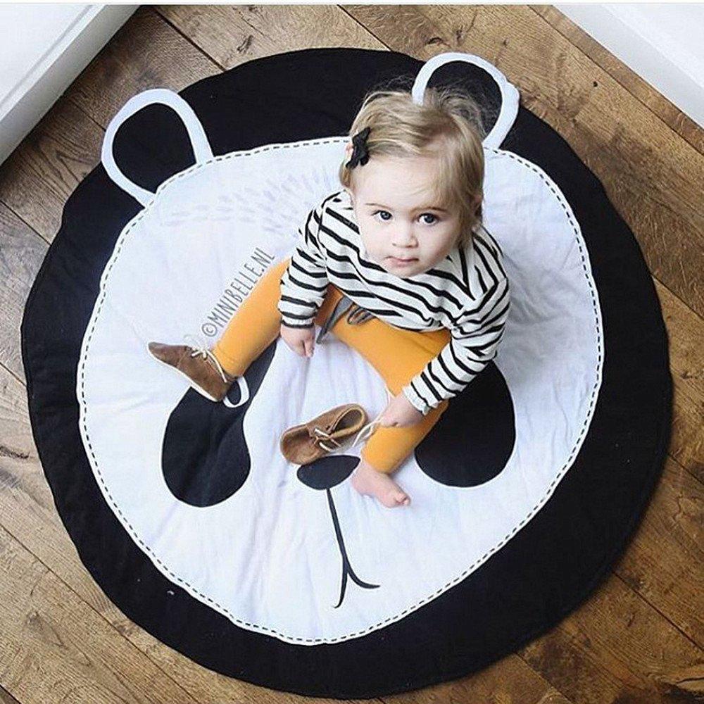USTIDE Bestever Baby Mat, Panda,Comfy Cotton Baby Play Mat -Safe & Protective For Infants, Toddlers, Kids,37.4''