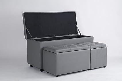 piushopping - Cab 3 Baúl Caja Color Gris recubierto de piel ...