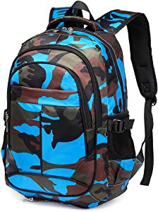 BLUEFAIRY Camouflage Backpacks for Boys with Basketball Compartment Little Kids School Bags for Kindergarten Children Bookbags Gifts (Camo Blue)
