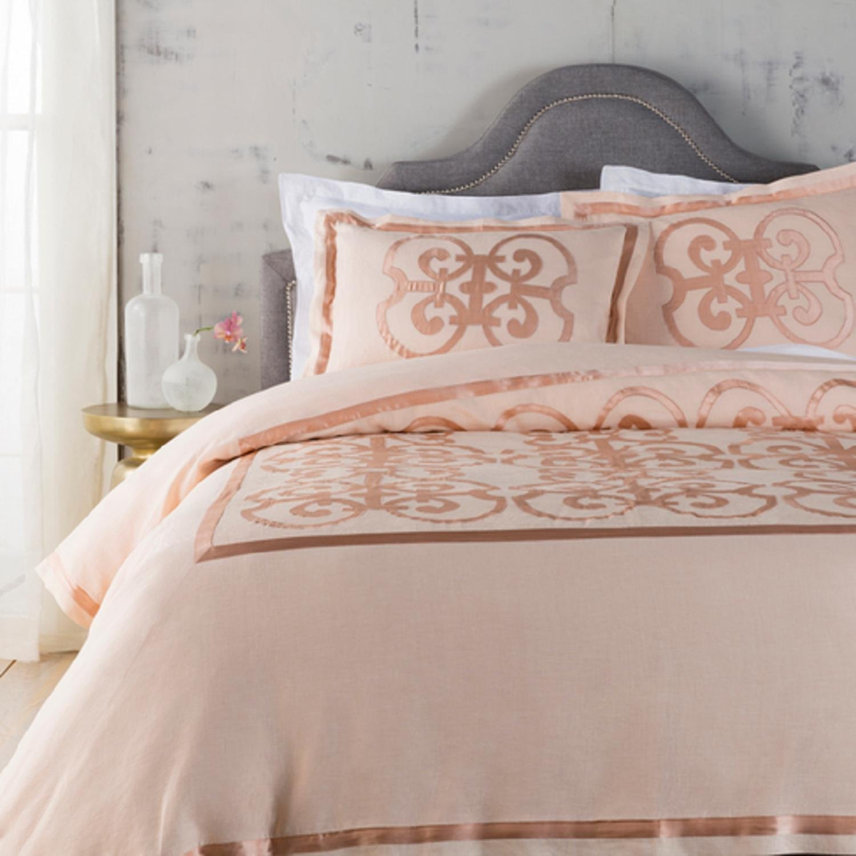 Peach and Cantaloupe Orange Royalty Decorative Linen Twin Bedding Set