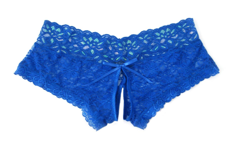 Trixx Intimates Women's Open Crotch Boyshorts Panty Blue TIPN11-BL-CA 1X