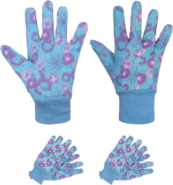 Garden Gloves Women,3 Pairs Breathable Floral Printing Jersey Garden Gloves with PVC Grip Dots,Women Work Gloves