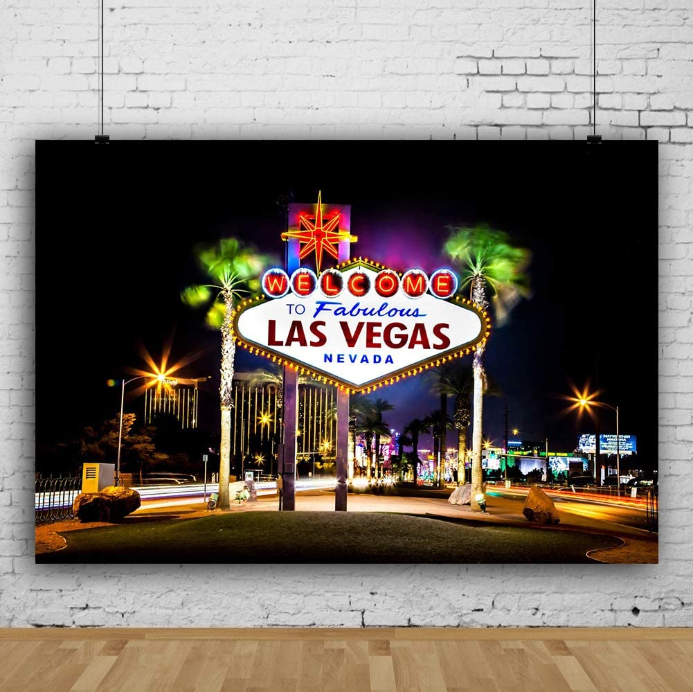 City 10x8 FT Vinyl Backdrop PhotographersResort Casinos on Shore at Night Atlantic City New Jersey United States Background for Party Home Decor Outdoorsy Theme Shoot Props