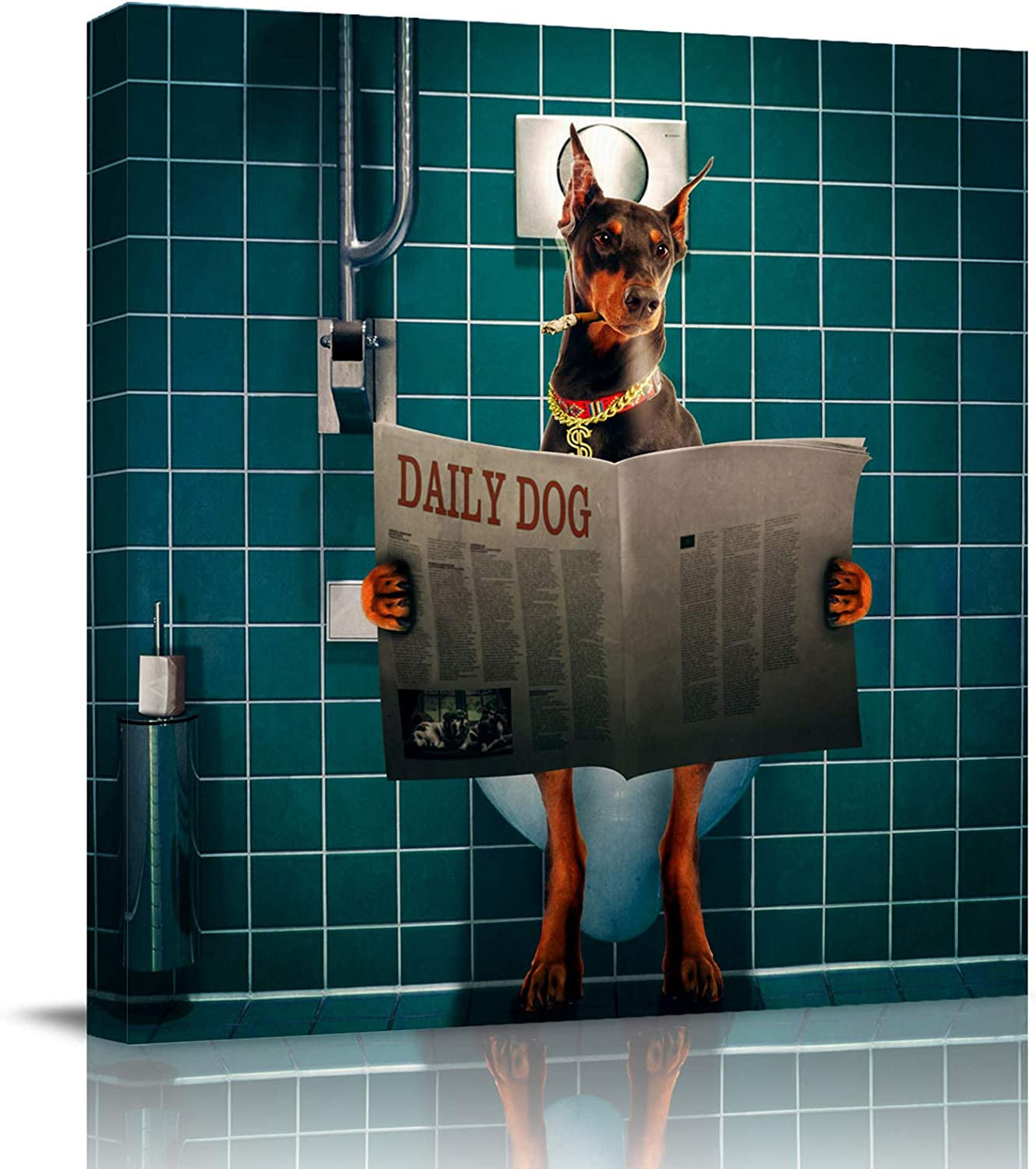 Chucoco Cool Doberman Dog Sitting on The Toilet Oil Paintings On Canvas Wall Art Plaid Back Abstract Print Artwork with Framed Ready to Hang, Living Room Kitchen Corridor Bedroom Office Decor