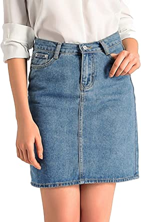 Amoretu - Falda de jean para mujer, estilo retro de talle alto Azul C ...