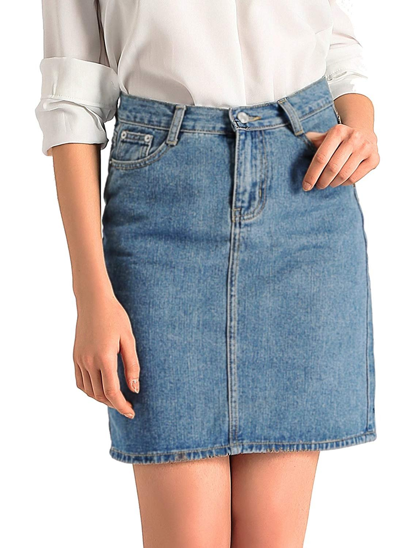 AMORETU Womens Classic Knee Length Pencil Denim Bodycon Skirt