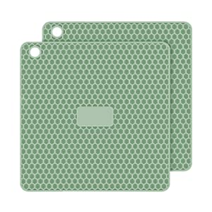 PratiPad Plus 4-in-1 Multipurpose Silicone Pot Holders, Trivets, Jar Openers, Spoon Rests - Extra Thick Protection - Set of 2 - Green Grey