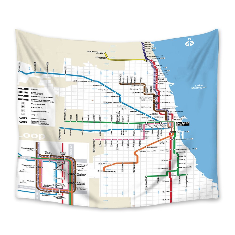 Subway Map Tapestry.Amazon Com Crystal Emotion Chicago Subway Map Wall Hanging Tapestry