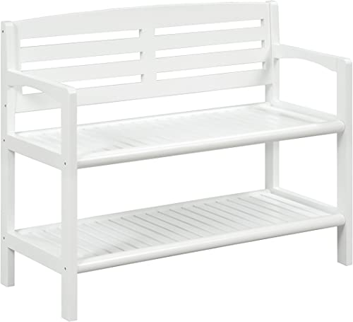 New Ridge Home Goods Abingdon Solid Birch Wood Bench with Back, White