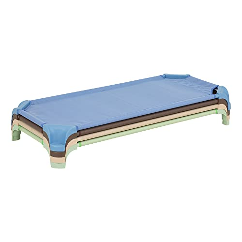 Sprogs Deluxe Assorted Natural Colors Stackable Daycare Cot Rest Mat w Easy Lift Corners - Standard 52 Length Pack of 4 , Blue Brown Tan Green SPG-16139-AN-SO