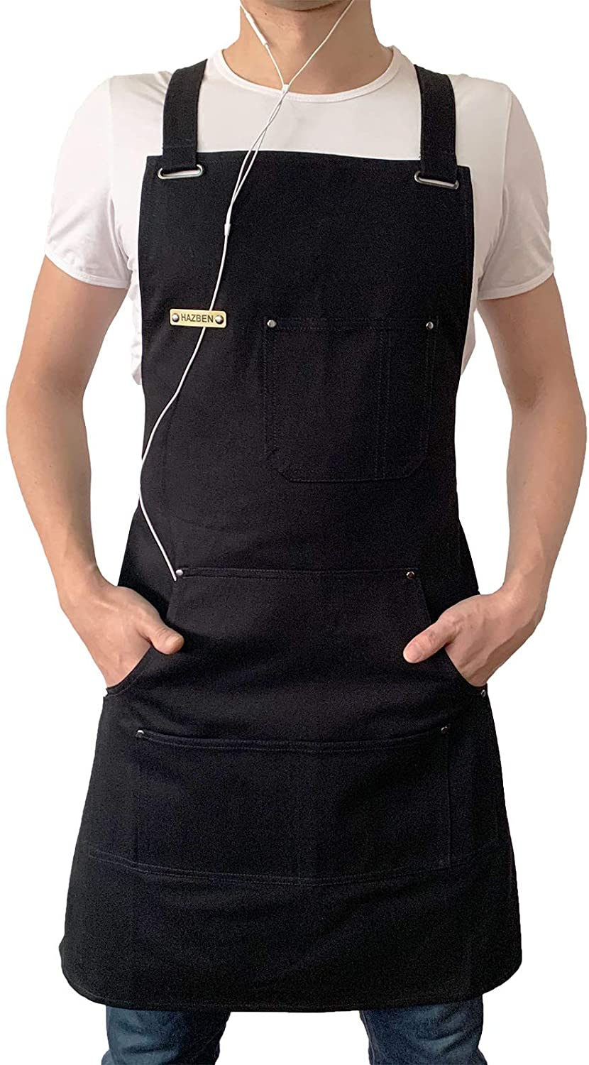 HAZBEN Apron for Men and Women with Tool Pockets, Chef Apron for Kitchen BBQ Grill Black Towel Loop, Woodworking Apron for Welding Grilling Metalwork, Quick Release Buckle, Adjustable M to XXL