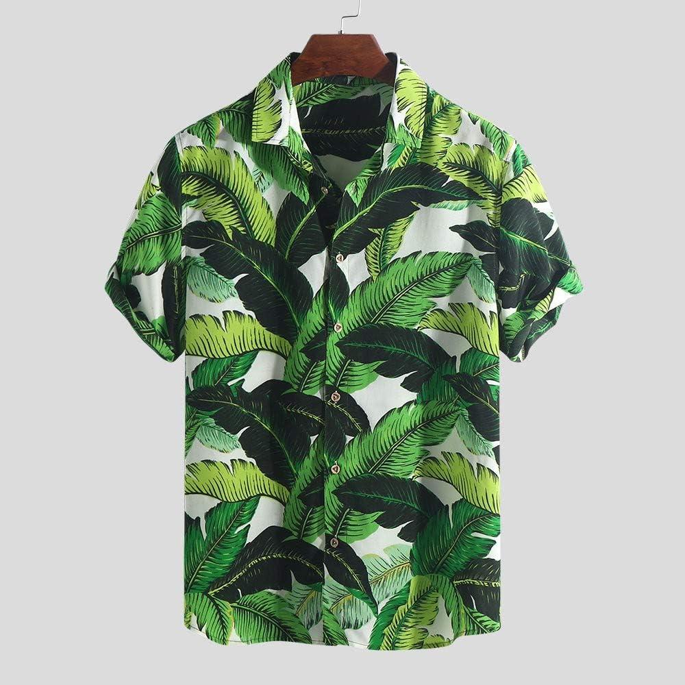 CAOQAO Camisa Hawaiana Hombre Oto/ño Invierno Suelta Nacionalidad Impreso Manga Larga Outwear Blusa