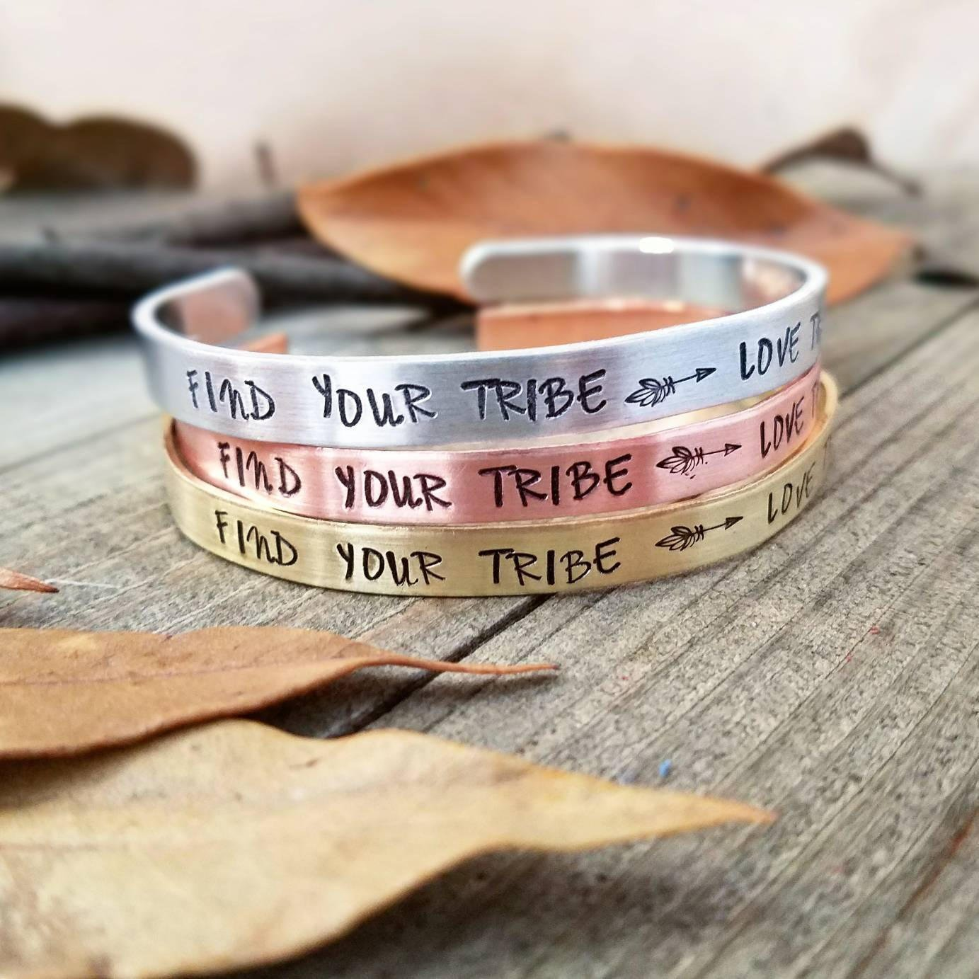 Find your tribe love them hard | stamped cuff bracelet | My Tribe jewelry | Boho stamped gifts | my tribe bracelet | best friend | bff gifts