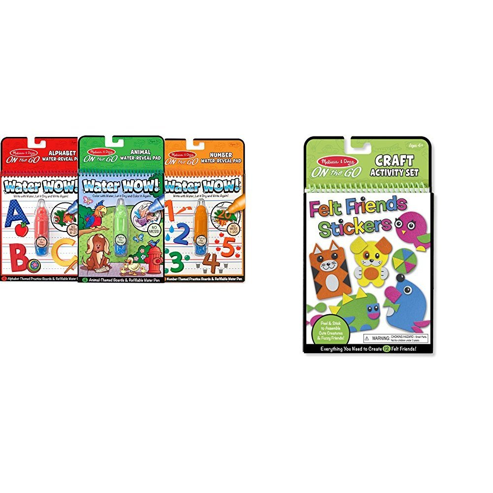 Melissa & Doug On the Go Water Wow! Activity Book, 3-Pack - Animals, Alphabet, and Numbers with Melissa & Doug On the Go Felt Friends Craft Activity Set With 188 Felt Stickers Bundle