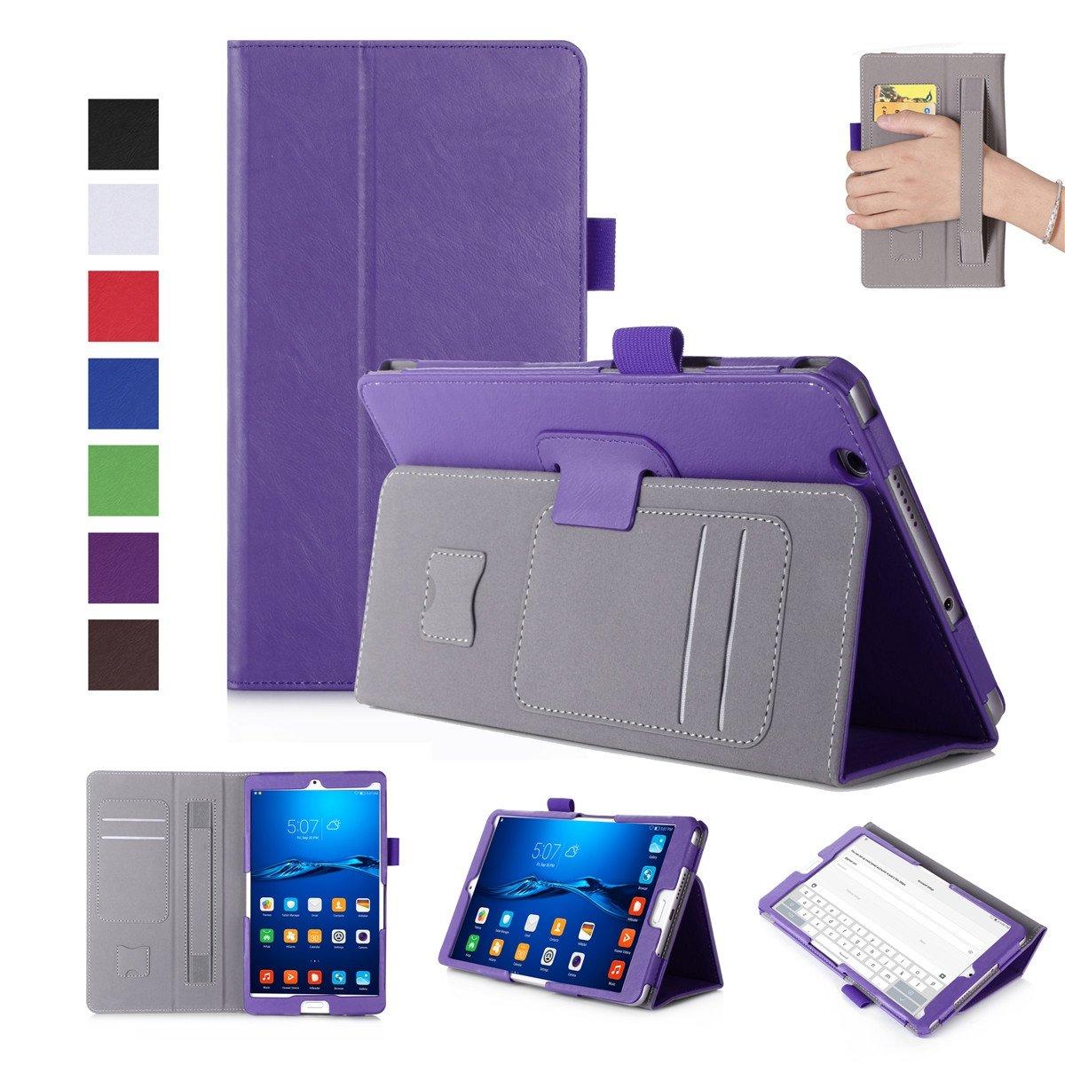 Huawei MediaPad M3 8.4インチケース 高級本革ケース スタンド付き フリップカバー ハンドメイド Huawei MediaPad M3 8.4インチ用 パープル   B07LCK268R